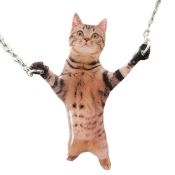 Adorable Brown Striped Tabby Kitty Cat Standing Up Shaped Pendant Necklace | DOTOLY