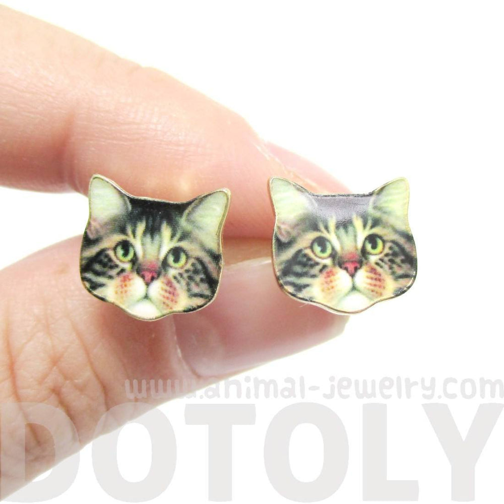 Adorable Brown Tabby Kitty Cat Face Shaped Stud Earrings | Animal Jewelry | DOTOLY