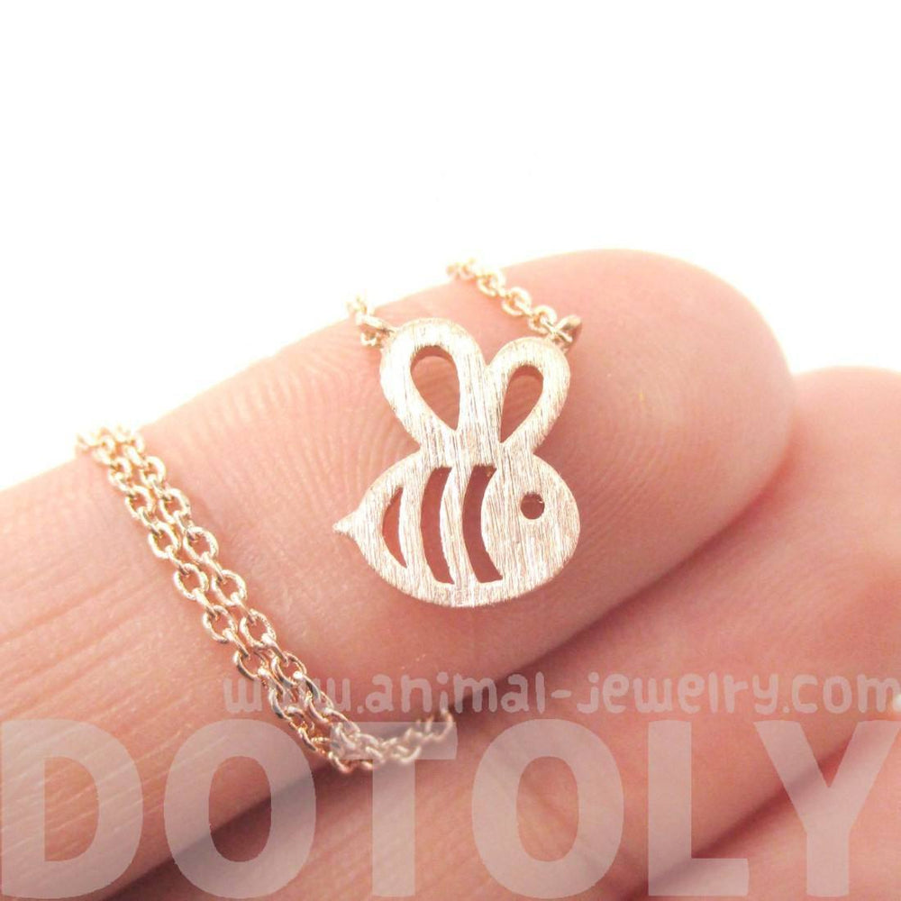 Adorable Bumble Bee Insect Shaped Charm Necklace in Rose Gold | Animal Jewelry | DOTOLY