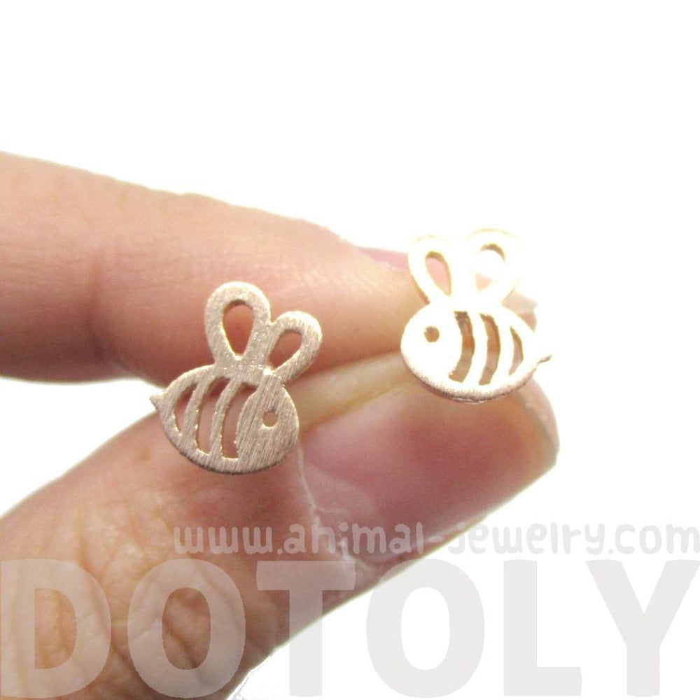 Adorable Bumble Bee Insect Shaped Stud Earrings in Rose Gold | Animal Jewelry | DOTOLY