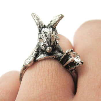 Adorable Bunny Rabbit Shaped Animal Inspired Ring in Silver with Rhinestones | US Size 6 | DOTOLY