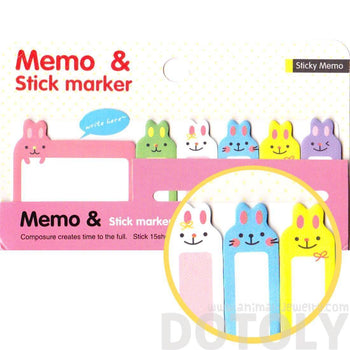 Adorable Bunny Rabbit Shaped Animal Memo Pad Post-it Index Sticky Pad | Design A | DOTOLY