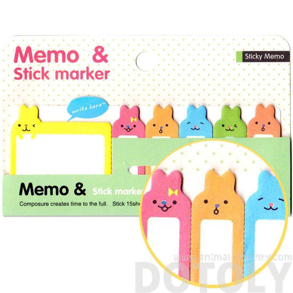 Adorable Bunny Rabbit Shaped Animal Memo Pad Post-it Index Sticky Pad | Design B | DOTOLY