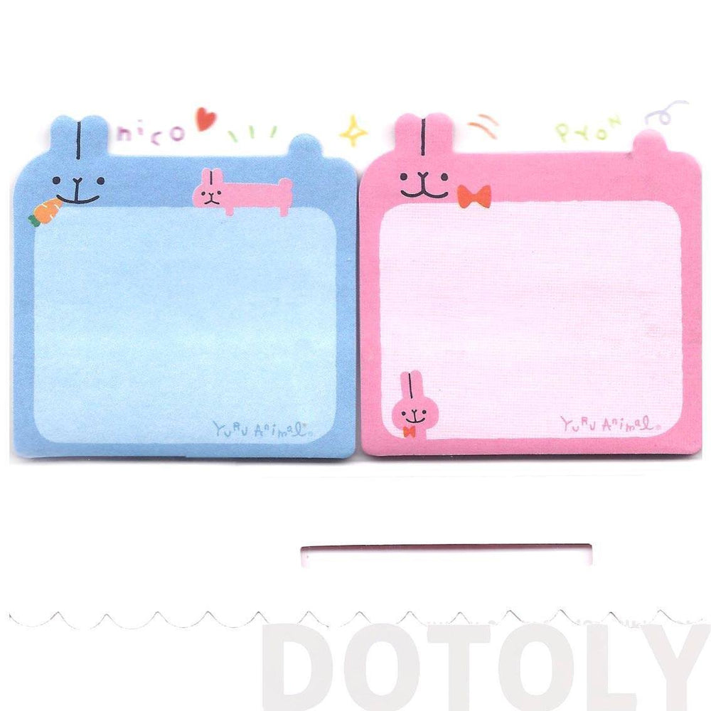 Adorable Bunny Rabbit Shaped Animal Sticky Post-it Memo Note Pads in Pink and Blue | DOTOLY