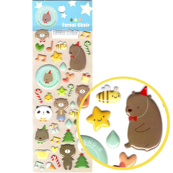 Adorable Cartoon Teddy Bear Shaped Animal Puffy Stickers for Scrapbooking | DOTOLY