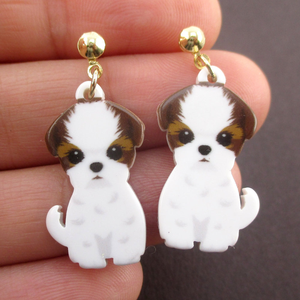 Adorable Cavalier King Charles Spaniel Puppy Shaped Stud Drop Earrings
