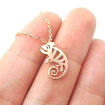 Adorable Chameleon Shaped Cut Out Charm Necklace in Rose Gold | Animal Jewelry | DOTOLY