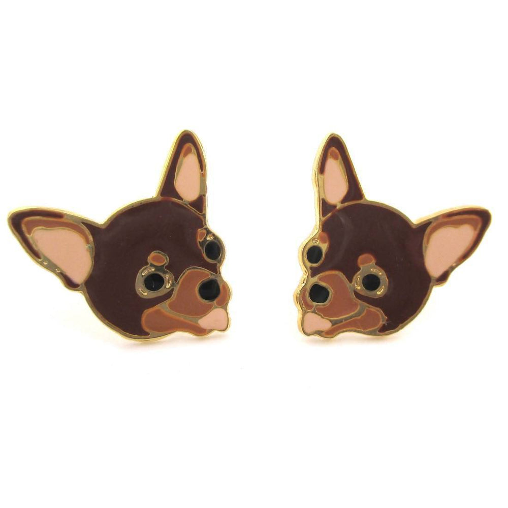 Adorable Chihuahua Puppy Dog Face Shaped Stud Earrings in Brown | Limited Edition | DOTOLY
