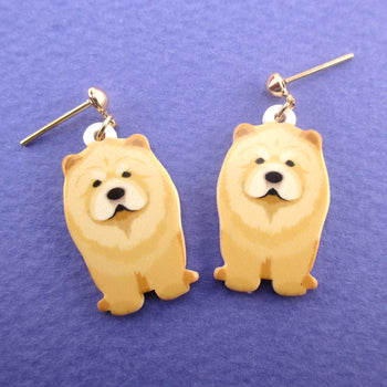 Chow-Chow Fluffy Lion Puppy Shaped Stud Drop Earrings for Dog Lovers
