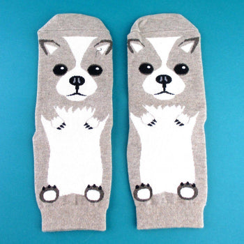 Adorable Corgi Puppy Dog Shaped Cotton Socks in Khaki | DOTOLY | DOTOLY