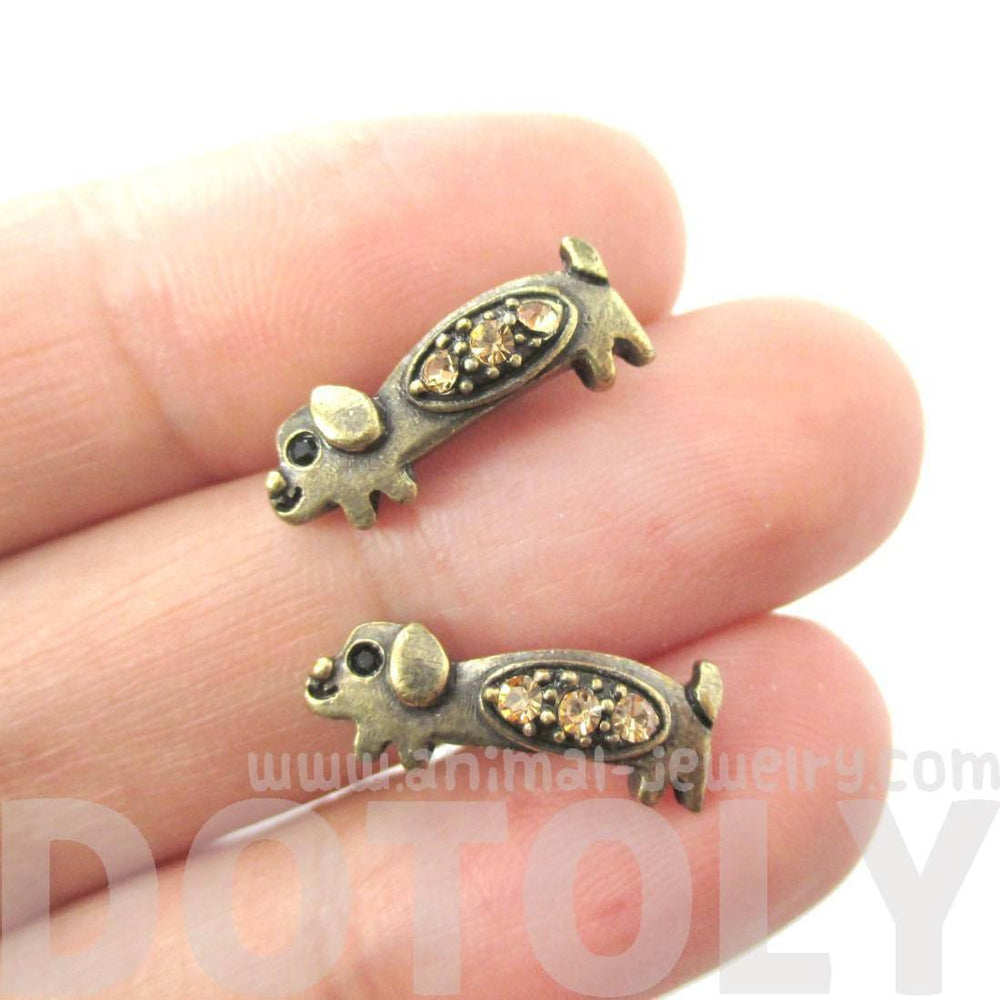 Adorable Dachshund Puppy Dog Shaped Stud Earrings in Brass with Rhinestones | Animal Jewelry | DOTOLY