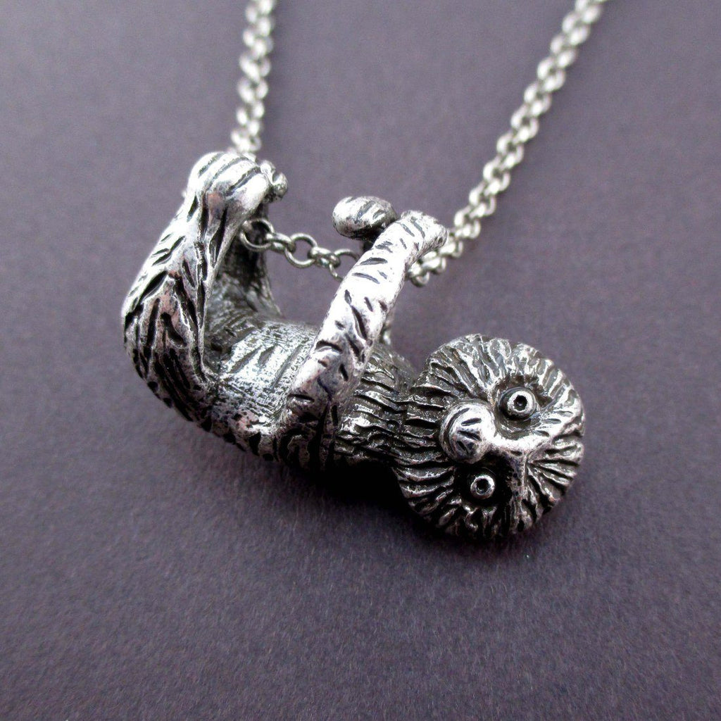 sloth p asp pendant stunning silver necklace solid hanging handmade unique jewellery