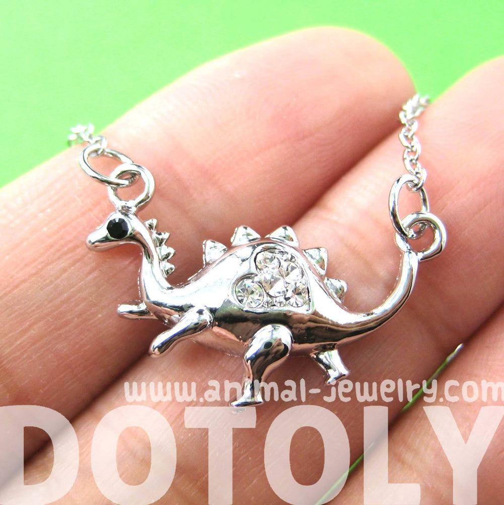 Adorable Dinosaur Animal Pendant Necklace in Silver with Heart Detail | DOTOLY | DOTOLY
