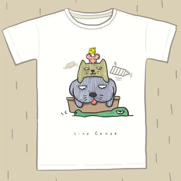 Adorable Dog, Cat Mouse and Alligator Hand Drawn Illustration Animal Graphic Tee | DOTOLY