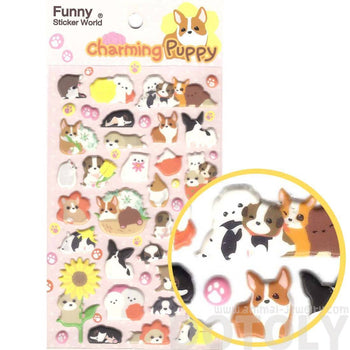 Adorable Dog Shaped Animal Puppies Pet Themed Puffy Stickers for Scrapbooking | DOTOLY