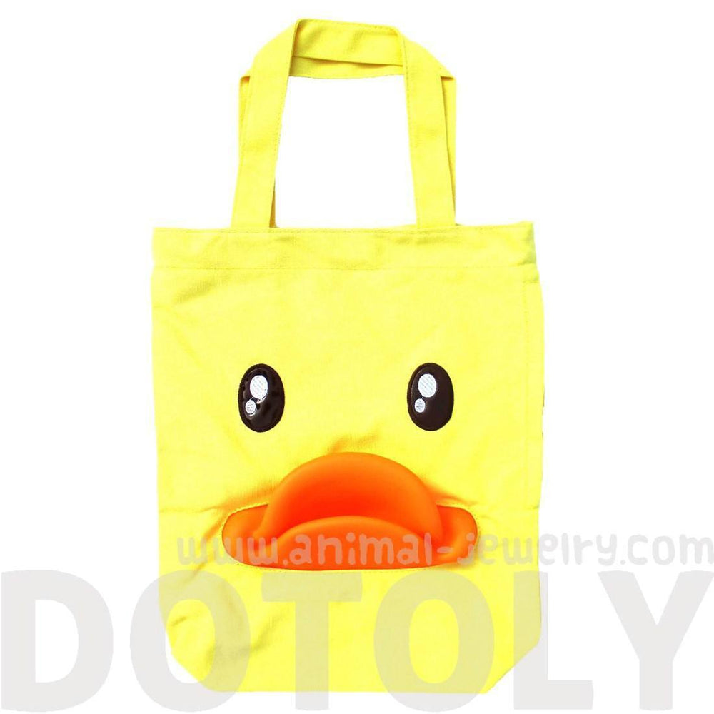 Adorable Duck Face with 3D Rubber Mouth B.DUCK Shoulder Canvas Tote Bag | DOTOLY | DOTOLY