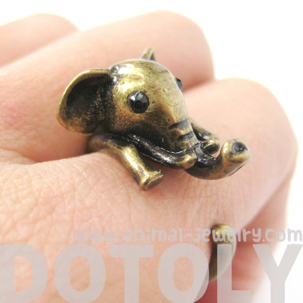 Adorable Elephant Shaped Animal Wrap Ring in Brass | US Sizes 7 to 9 | DOTOLY