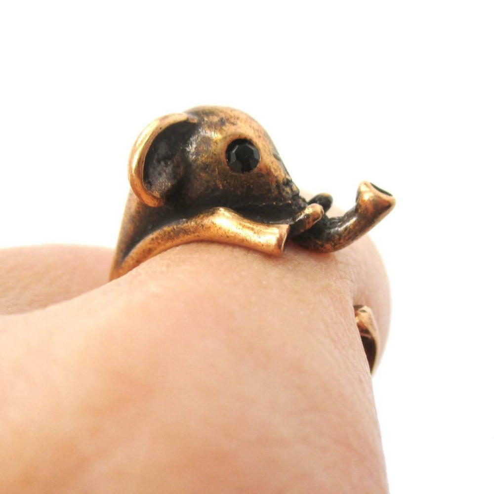 Adorable Elephant Shaped Animal Wrap Ring in Copper | US Sizes 7 to 9 | DOTOLY