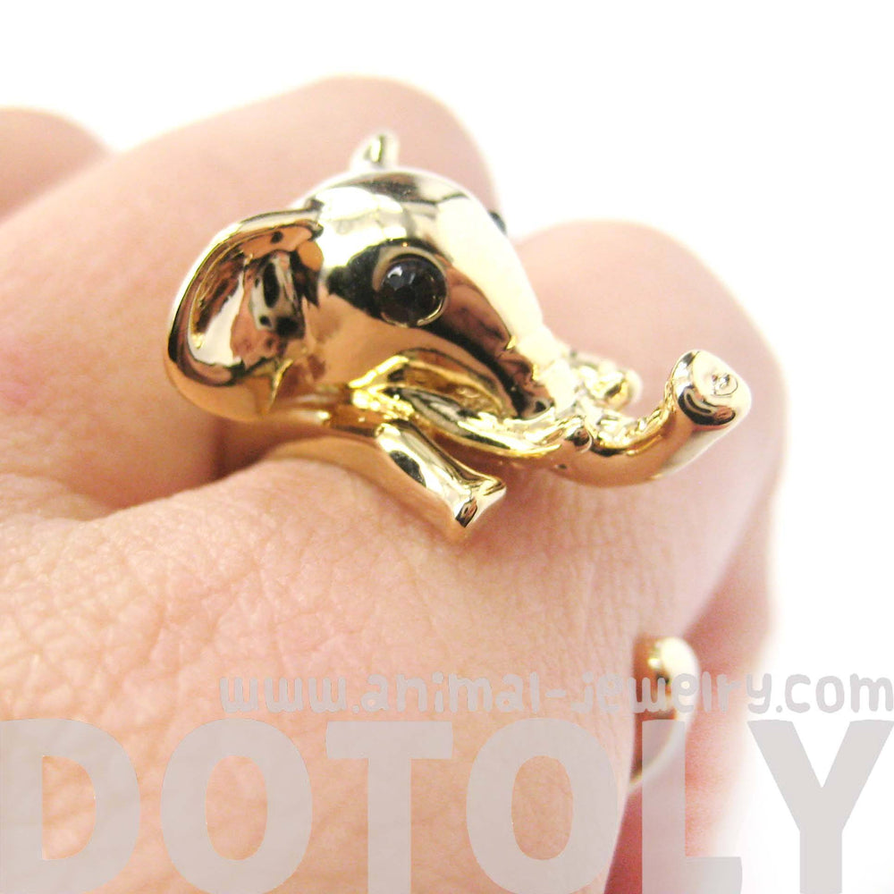 Adorable Elephant Shaped Animal Wrap Ring in Shiny Gold | US Sizes 7 to 9 | DOTOLY