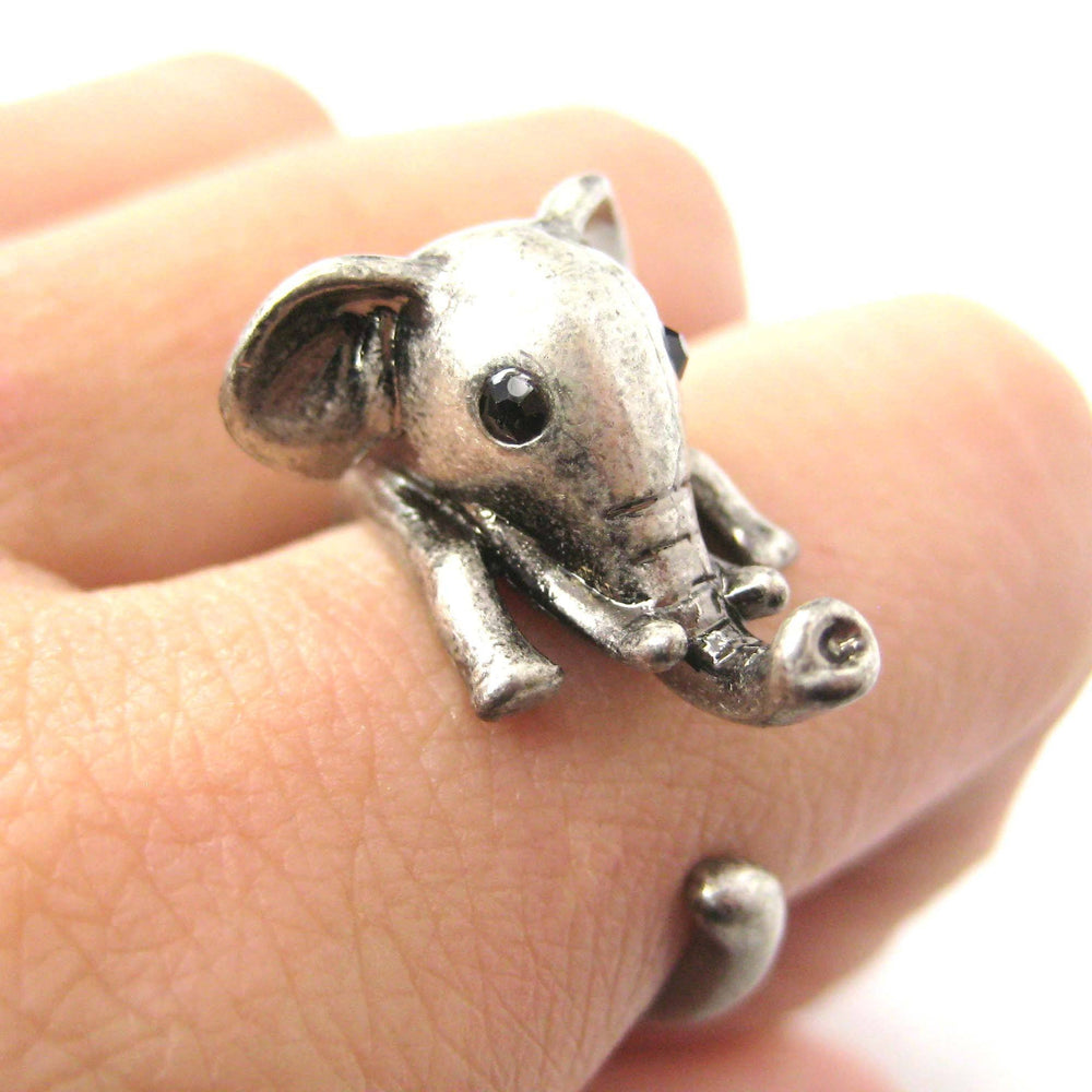 Adorable Elephant Shaped Animal Wrap Ring in Silver | US Sizes 7 to 9 | DOTOLY