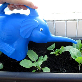 Adorable Elephant Shaped Plastic Watering Can for Gardening in Blue | Animal Themed Home Decor | DOTOLY