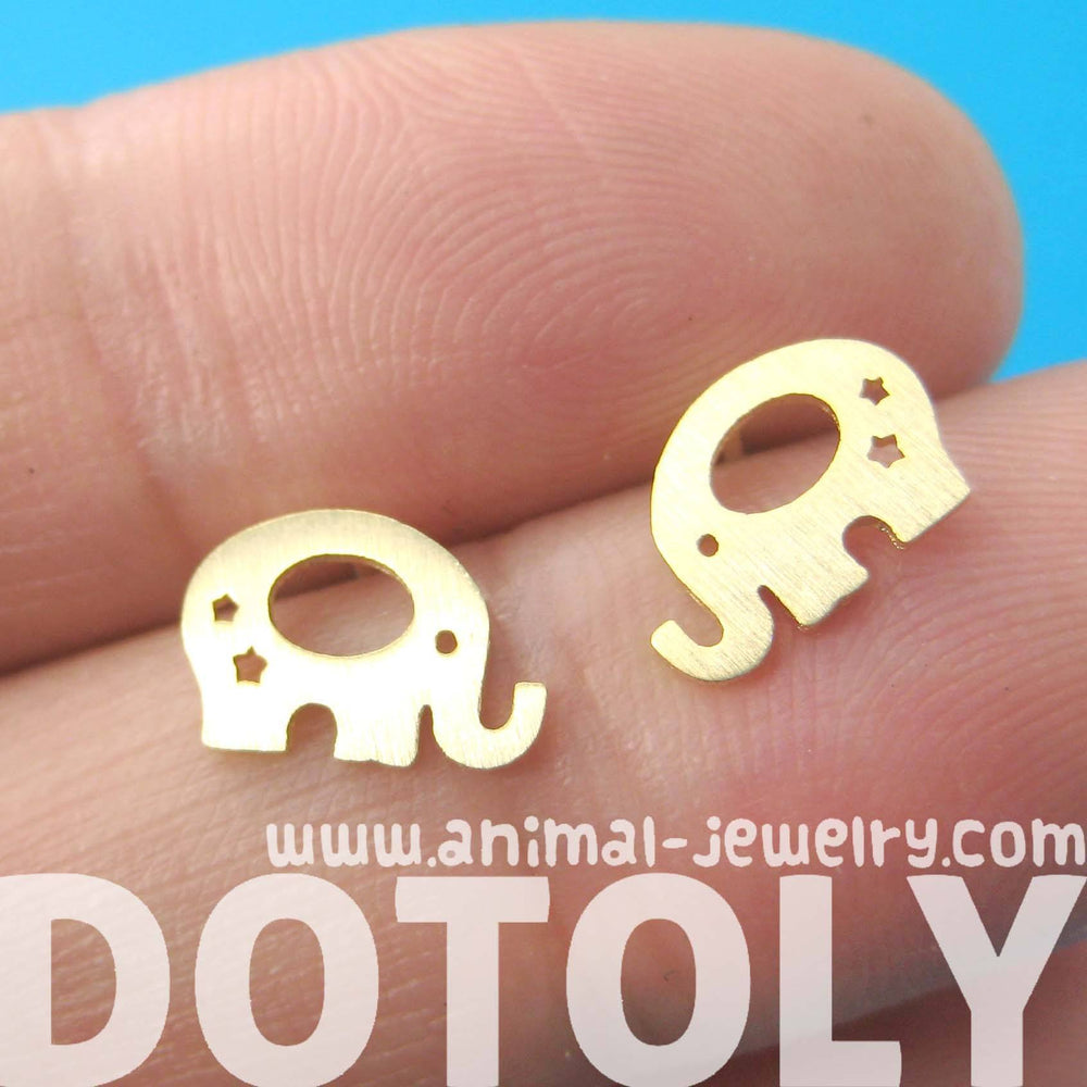Adorable Elephant Silhouette Shaped Stud Earrings in Gold | Allergy Free | DOTOLY