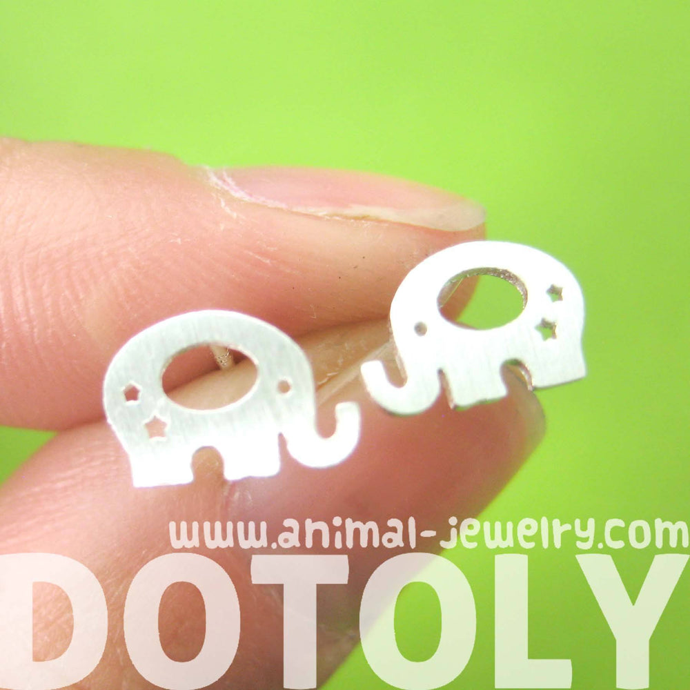Adorable Elephant Silhouette Shaped Stud Earrings in Silver | Allergy Free | DOTOLY