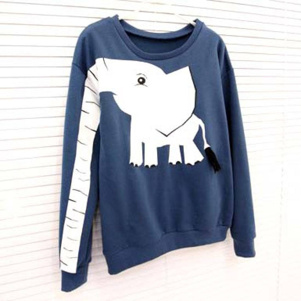Adorable Elephant Trunk Arm Long Sleeve Round Neck Pullover Sweater for Women in Blue Green or Grey | DOTOLY