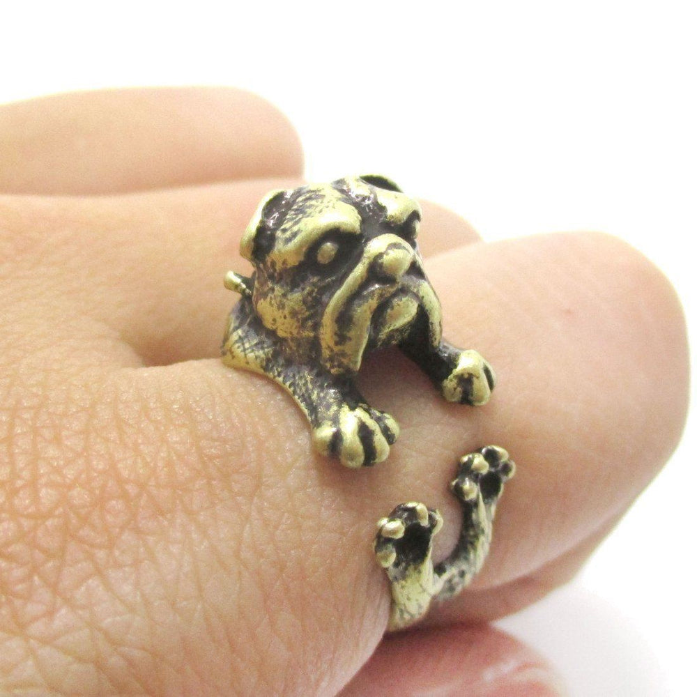 Adorable English Bulldog Puppy Dog Animal Wrap Around Ring in Brass | Sizes 6 to 9 | DOTOLY