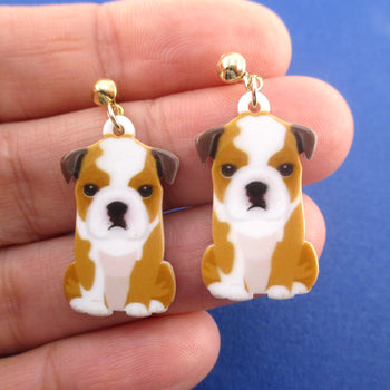 Adorable English Bulldog Puppy Shaped Stud Drop Earrings for Dog Lovers