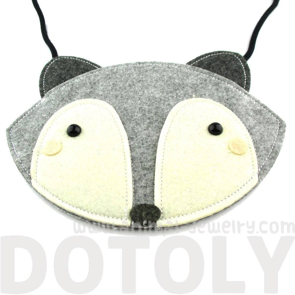 Adorable Fox Wolf Face Shaped Animal Themed Shoulder Bag for Kids in Grey Felt | DOTOLY