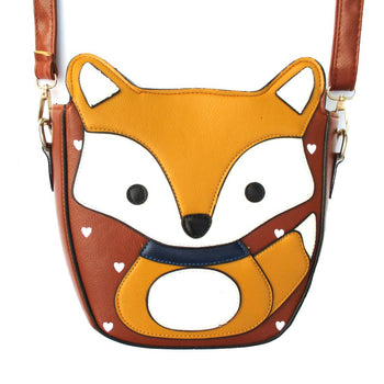 Adorable Fox Wolf Shaped Animal Themed Cross Body Shoulder Bag for Women in Light Brown | DOTOLY
