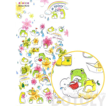 Adorable Frog Toad Froggy Floating on Clouds Shaped Jelly Stickers for Scrapbooking and Decorating | DOTOLY