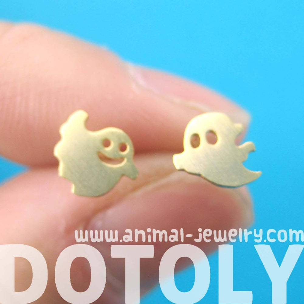 Adorable Ghost Shaped Stud Earrings in Gold | Allergy Free | DOTOLY