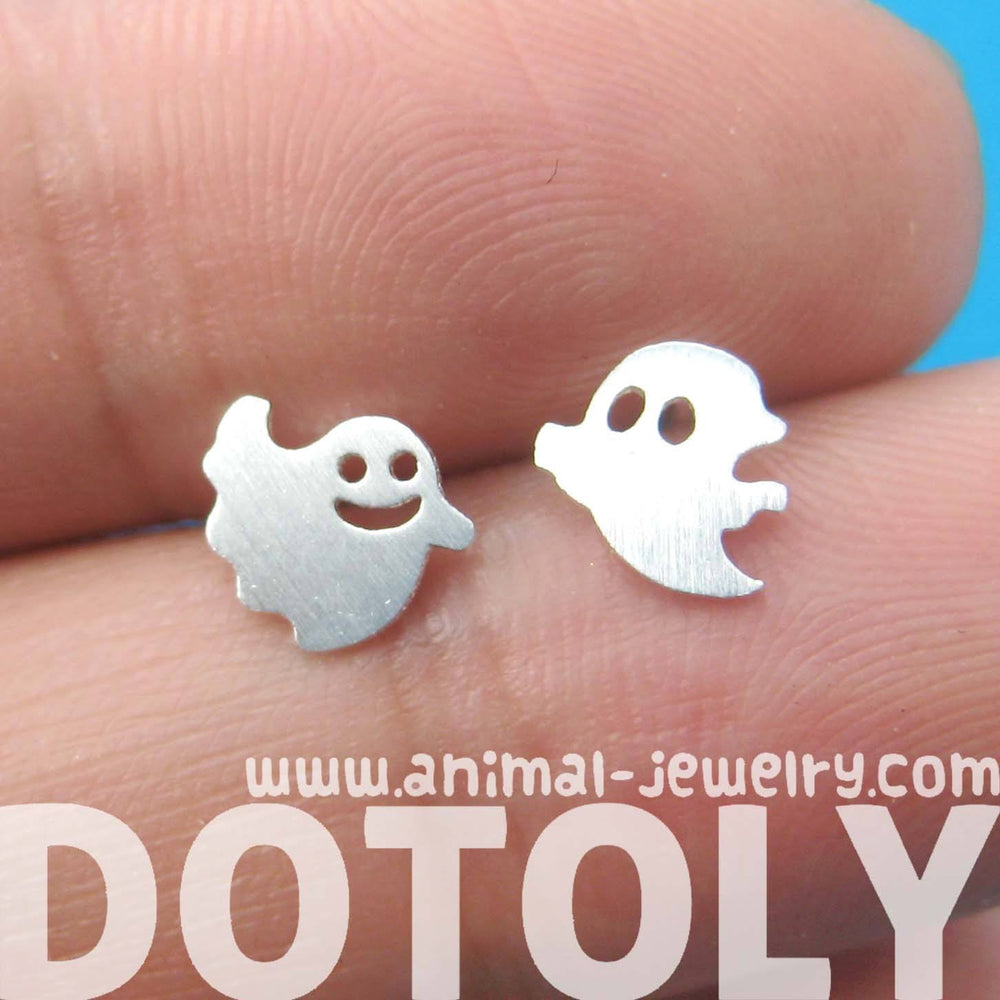 Adorable Ghost Shaped Stud Earrings in Silver | Allergy Free | DOTOLY