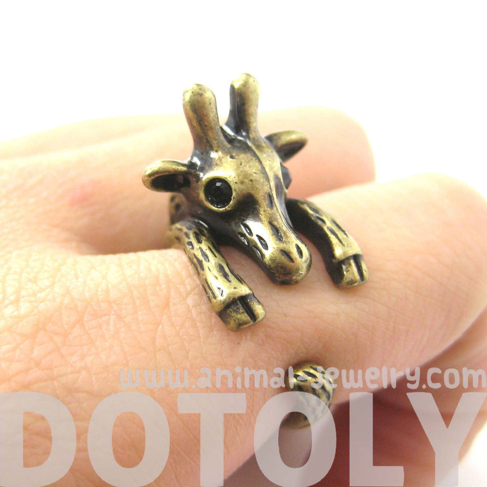 Adorable Giraffe Shaped Animal Wrap Ring in Brass | US Sizes 7 to 9 | DOTOLY