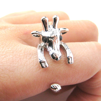 Adorable Giraffe Shaped Animal Wrap Ring in Shiny Silver | US Sizes 7 to 9 | DOTOLY