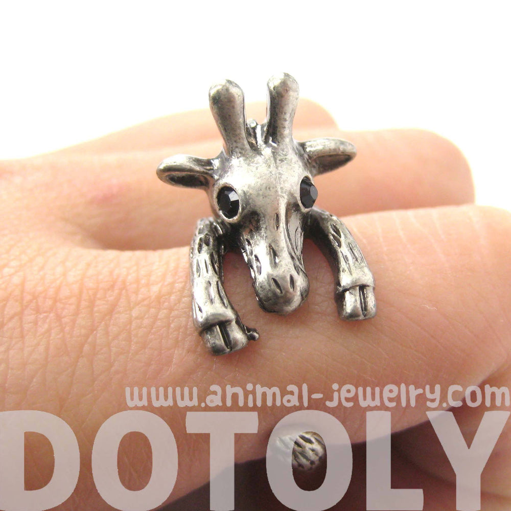 Adorable Giraffe Shaped Animal Wrap Ring in Silver | US Sizes 7 to 9 | DOTOLY