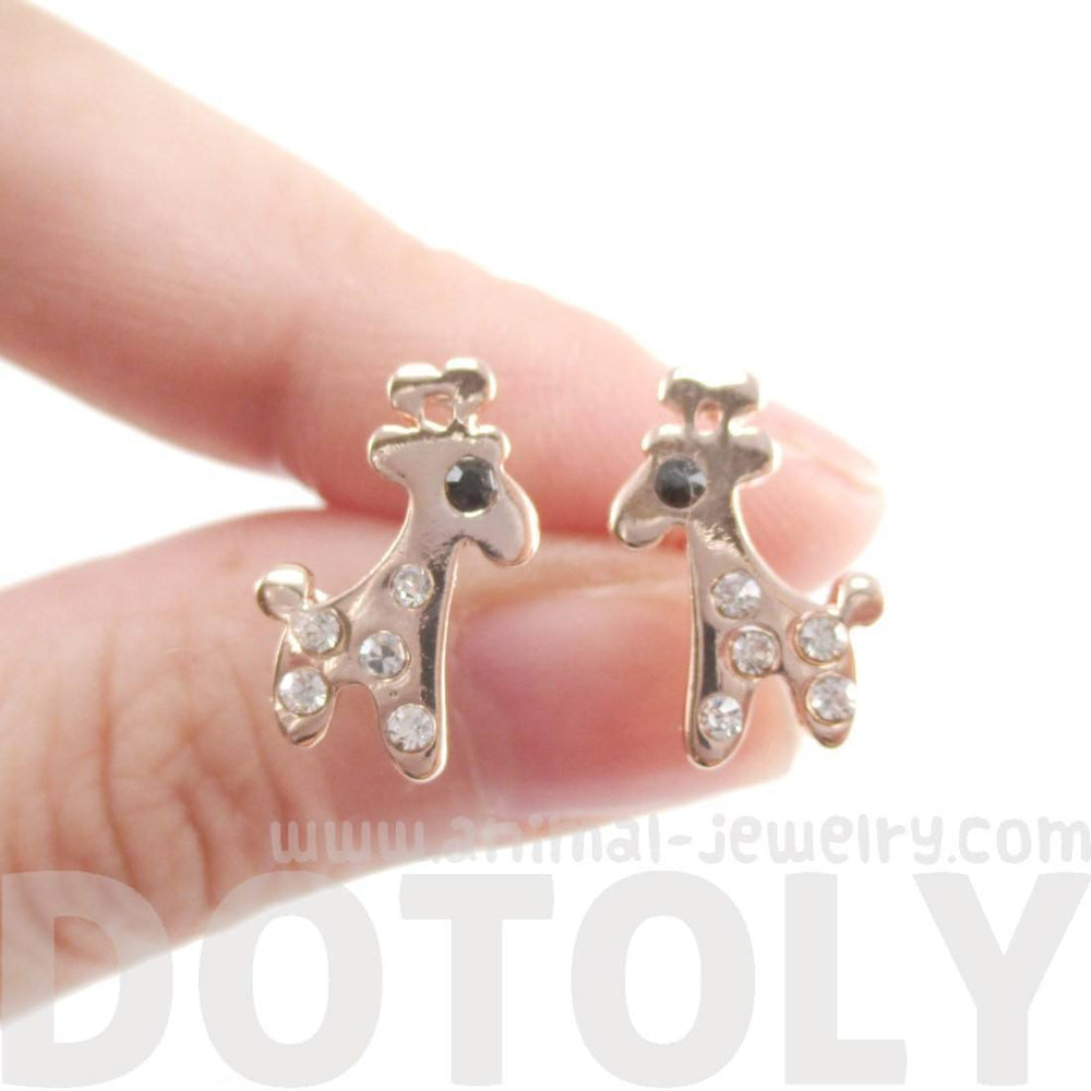 Adorable Giraffe Shaped Stud Earrings in Rose Gold with Rhinestones | DOTOLY