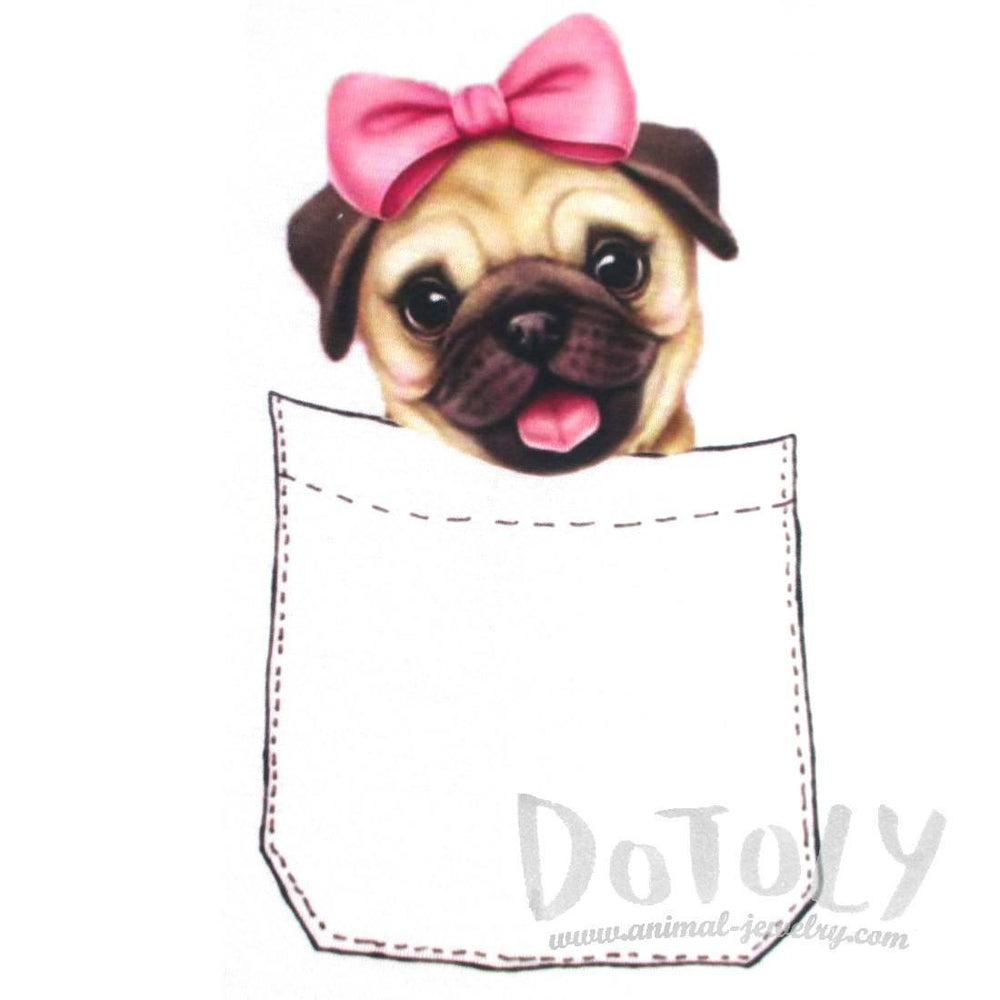 Adorable Girl Pug Puppy in Your Pocket Graphic Print T-Shirt | DOTOLY | DOTOLY