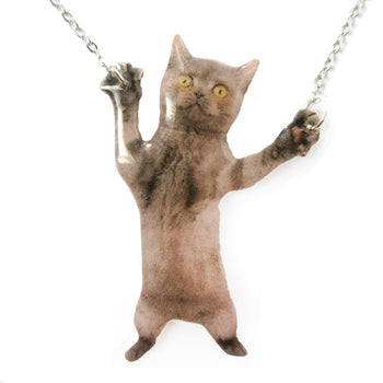 Adorable Grey Kitty Cat Standing on Hind Legs Shaped Pendant Necklace | Handmade | DOTOLY