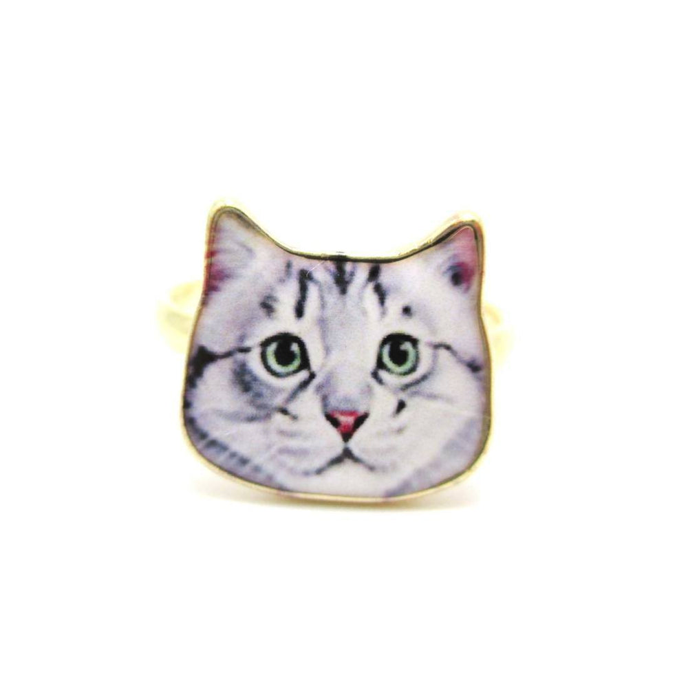 Adorable Grey Tabby Kitty Cat Face Shaped Adjustable Ring | Animal Jewelry | DOTOLY