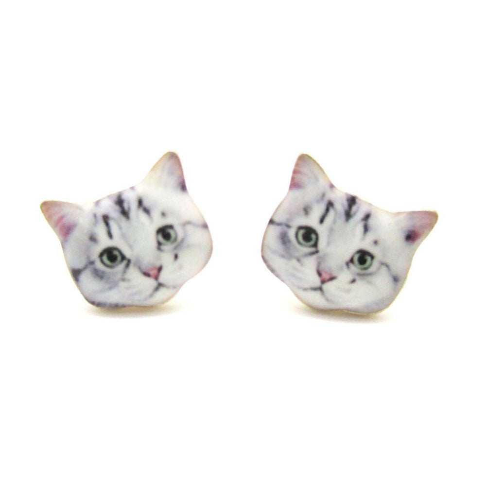 Adorable Grey Tabby Kitty Cat Face Shaped Stud Earrings | Animal Jewelry | DOTOLY