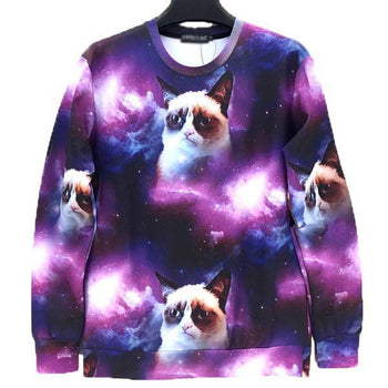 Adorable Grumpy Cat Floating in Space Graphic Print Unisex Sweatshirt | DOTOLY