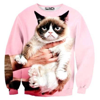 Adorable Grumpy Cat Graphic Print Pullover Sweatshirt Sweater in Pink | Gifts for Kitty Cat Lovers | DOTOLY