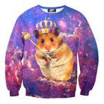 Adorable Hamster Gerbil Universe Space Nebula Print Pullover Sweatshirt | DOTOLY