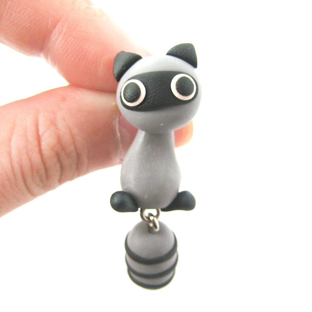 Handmade Raccoon Fake Gauge Two Part Polymer Clay Stud Earring | DOTOLY | DOTOLY