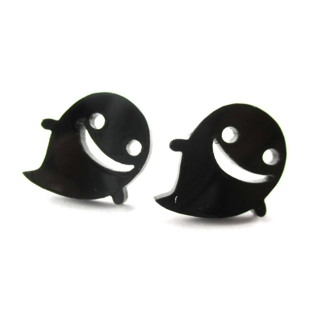 Adorable Happy Smiley Ghost Shaped Laser Cut Statement Stud Earrings in Black Acrylic | DOTOLY