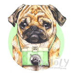 Adorable Hipster Pug Photographer Illustrated Graphic Print T-Shirt | DOTOLY | DOTOLY