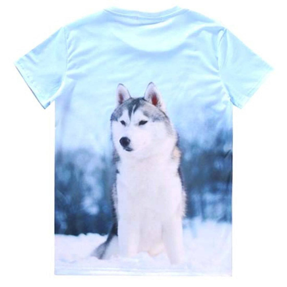 Adorable Husky Puppy Dog Graphic Print T-Shirt in Blue | Gifts for Dog Lovers | DOTOLY